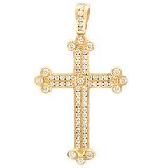 Yellow Gold 14 Karat Custom Natural Diamond Cross Pendant