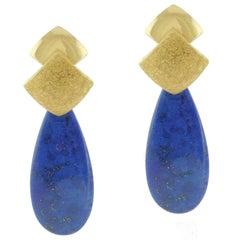 Lapis Yellow Gold Drop Earrings