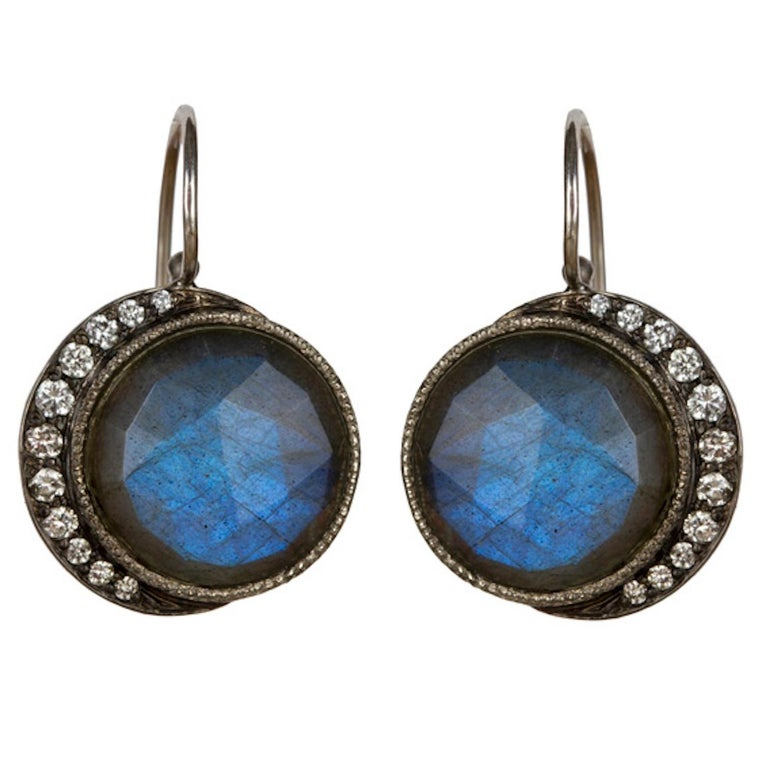 White Gold Diamond Labradorite Full Blue Moon Crescent Earrings