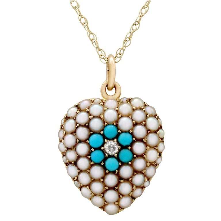 Antique Victorian Diamond and Turquoise, Pearl and 14k Yellow Gold Heart Pendant