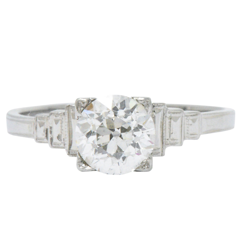Art Deco 1.23 Carats Old European Diamond Platinum Engagement Ring GIA