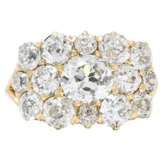 Kohn Victorian 4.00 Carat Total Diamond 18 Karat Gold Cluster Ring