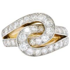 Cartier Paris Retro 3.00 CTW Diamond Platinum-Topped 18 Karat Gold Cocktail Ring