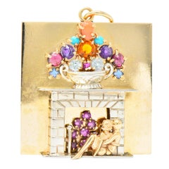 Retro Multi-Gem 14 Karat Two-Tone Gold Sapphire Amethyst Coral Fireplace Pendant