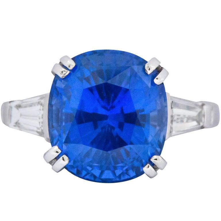 Art Deco 8.62 Carat No Heat Ceylon Sapphire Diamond Platinum Ring AGL