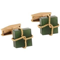 Alan Gard 18k Yellow Gold and Jade Package Cufflinks