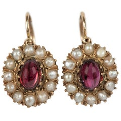 Rare Russian Garnet and Pearl Cluster Gold Earrings, circa 1880