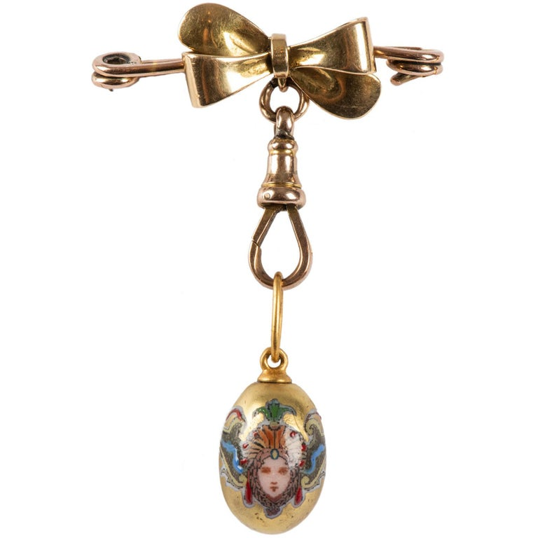 English Bow Watch Pin Suspending Russian Archangel Egg