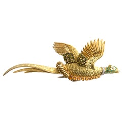 Hermès 18k Yellow Gold Emerald Citrine Peridot and Diamond Bird Brooch