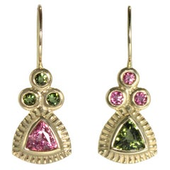 Emily Kuvin Reverse Two Color Gold and Tourmaline Earrings