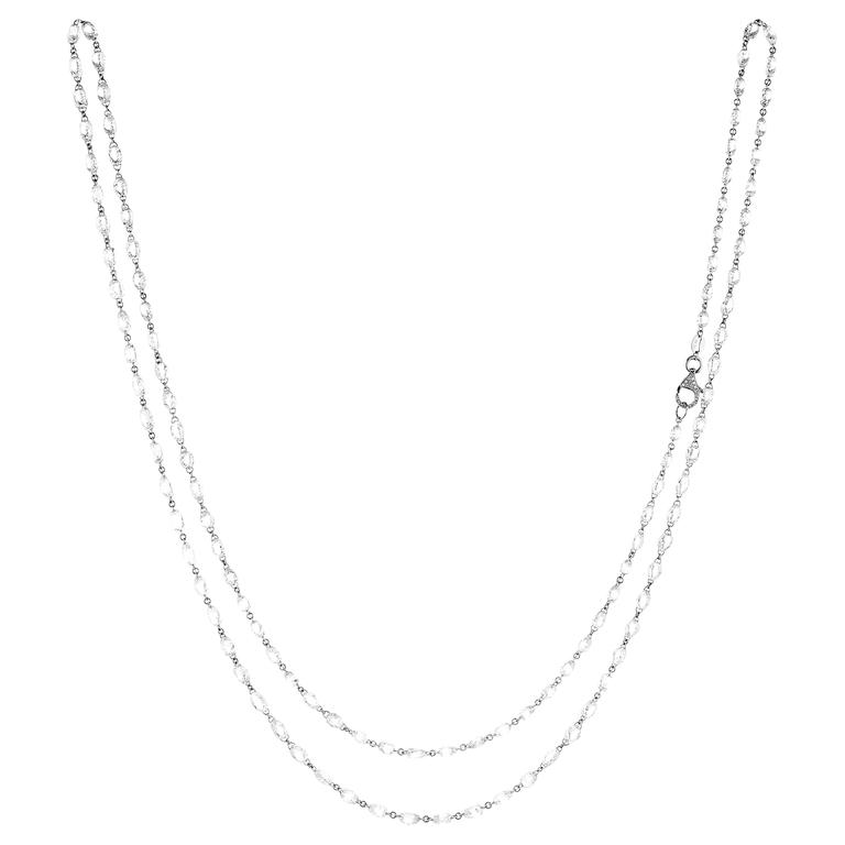 Diamond Briolette Gold Link Necklace