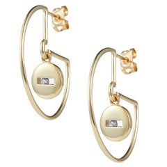 Luke Rose 14 Carat Gold and Diamond Hoop Earrings