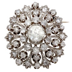 Antique Victorian 3.48Ct Diamond and 15k Yellow Gold Brooch