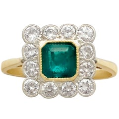 Emerald and Diamond Yellow Gold Cocktail Ring