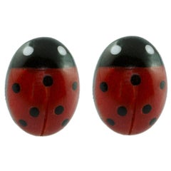 18 Karat White Gold Mediterranean Coral Ladybug Stud Earrings