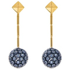 Valentin Magro Aquamarine Dangling Disco Ball Earrings with Pyramid Top
