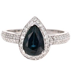 2.52 Carat Blue Sapphire Diamond White Gold Engagement Ring