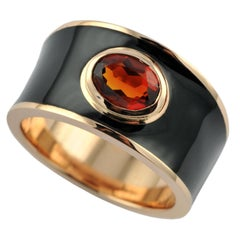 0.75 Carat Oval Shaped Citrine Madena 18 Karat Rose Gold Hafsa Ring