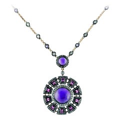 3,66 Ct. Amethyst Special Cut 0.60 Ct. Sapphire 0,85 Ct. Diamond 18K Necklace