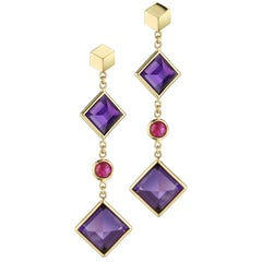 18 Karat Yellow Gold Amethyst and Ruby Florentine Earrings