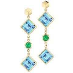 18 Karat Yellow Gold Blue Topaz and Tsavorite Florentine Earrings