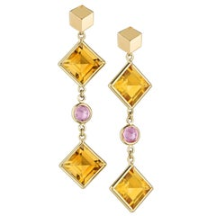 18 Karat Yellow Gold Citrine and Pink Sapphire Florentine Earrings
