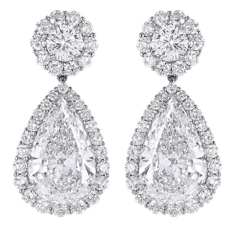 25.69 Carat Pear Diamond Drop Earrings 1