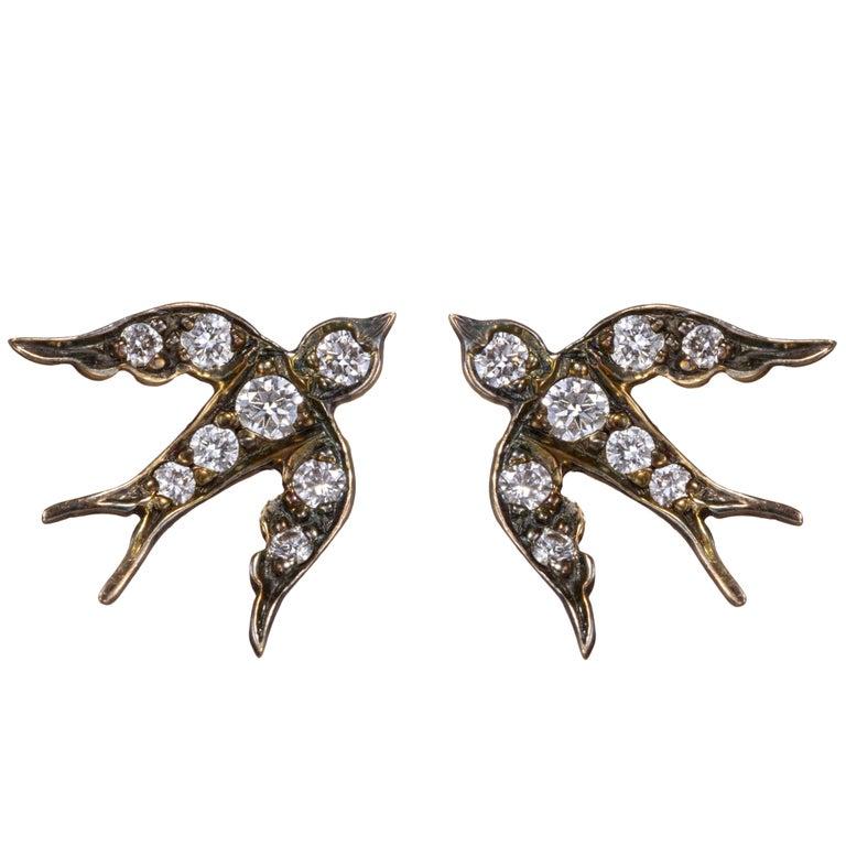 Sterling Silver Diamond Bird Stud Swallow Vogue Earrings