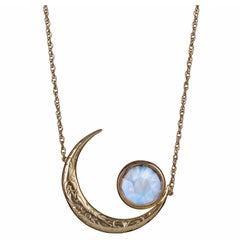 Yellow Gold Rainbow Moonstone Crescent Moon Engraved Victorian Inspired Necklace