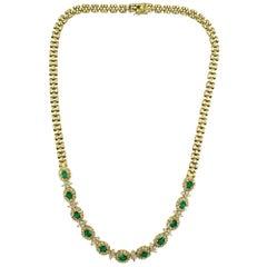 Diamond Emerald 14 Karat Yellow Gold Link Necklace