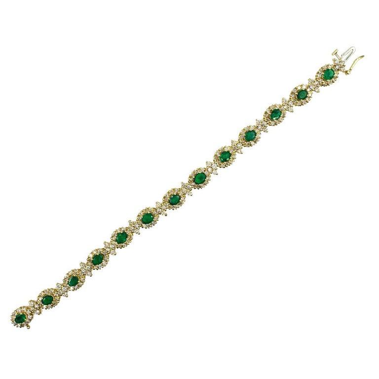 Emerald Diamond 14 Karat Yellow Gold Link Bracelet
