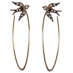 Gold Diamond Bird 'Swallow' Hoop Victorian Inspired Earrings
