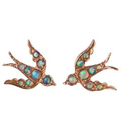 Rose Gold Opal Bird 'Swallow' Victorian Inspired Stud Earrings