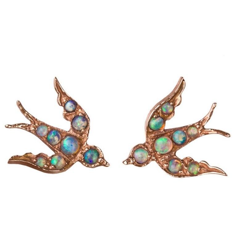 Rose Gold Opal Bird 'Swallow' Victorian Inspired Stud Earrings