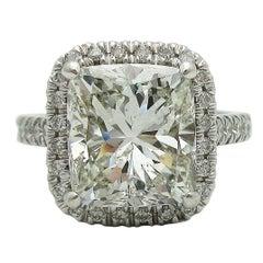 4 Carat Cushion Cut GIA Certified Diamond Halo Ring