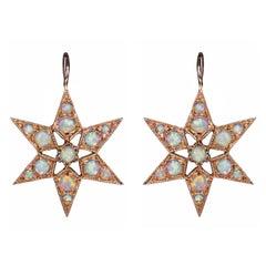 Rose gold Australian crystal opal Star Victorian Vogue earrings