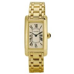 Cartier Yellow Gold Ladies Tank Americaine Wrist Watch
