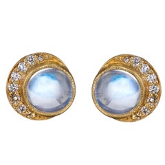 Yellow gold diamonds moonstone full moon crescent stud earrings