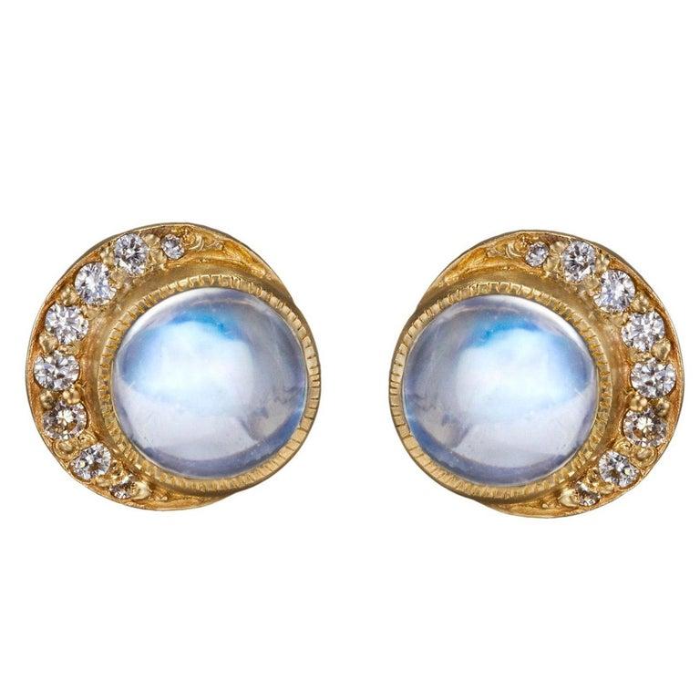 Blackbird and the Snow - Gold diamond moonstone full moon crescent stud earrings For Sale