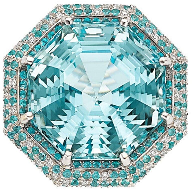 GIA Certified Aquamarine Paraiba Diamond Gold Ring