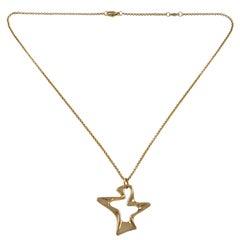 Henning Koppel Designed Georg Jensen 18 Karat Gold Splash Pendant and Chain