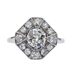 Art Deco 0.94 Carat Centre Diamond Platinum Topped Engagement Ring