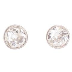 Bespoke 2 Carat Cushion Cut Diamond Stud Earrings