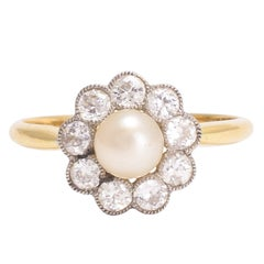 Antique Edwardian Pearl Diamond Flower Ring