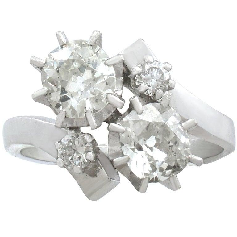 1950s 2.61 Carat Diamond and White Gold Twist Ring