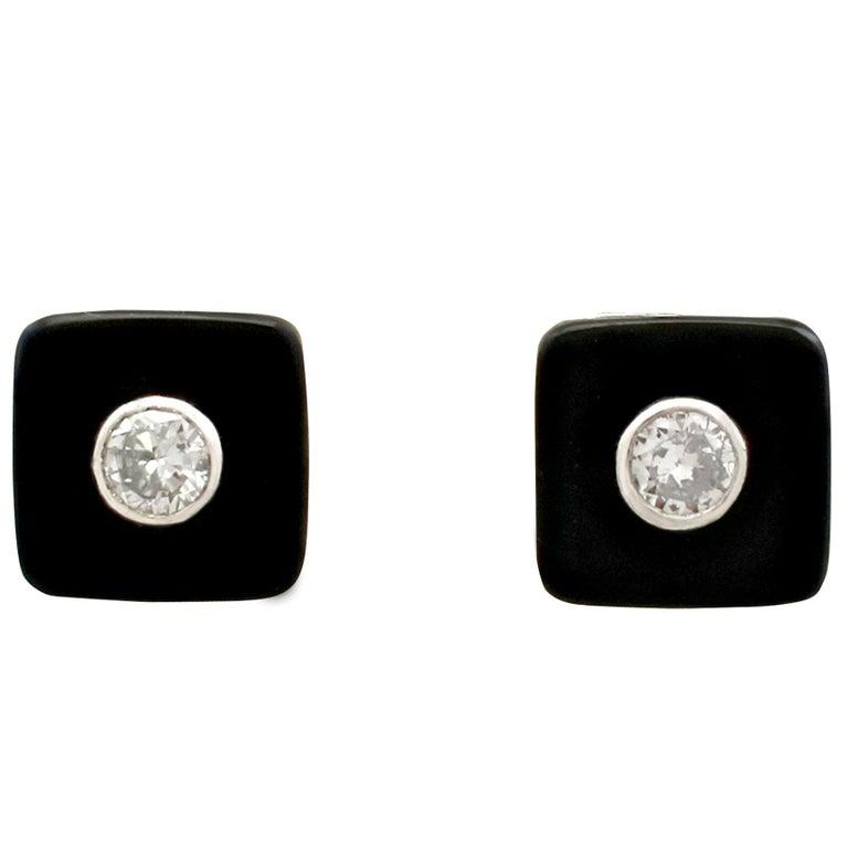 1950s Diamond and Black Onyx Platinum Stud Earrings