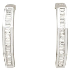 2000s Diamond and White Gold Hoop Earrings