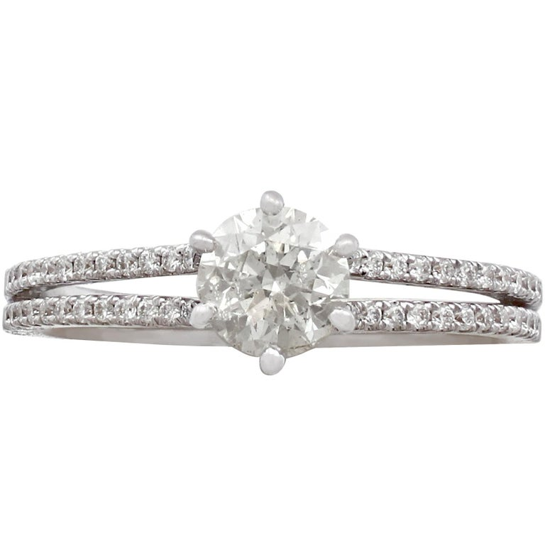 0.76 Carat Diamond White Gold Solitaire Engagement Ring