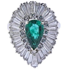 Mid Century 4.20 Carat Emerald G-H VS Baguette Diamond Ballerina Cocktail Ring