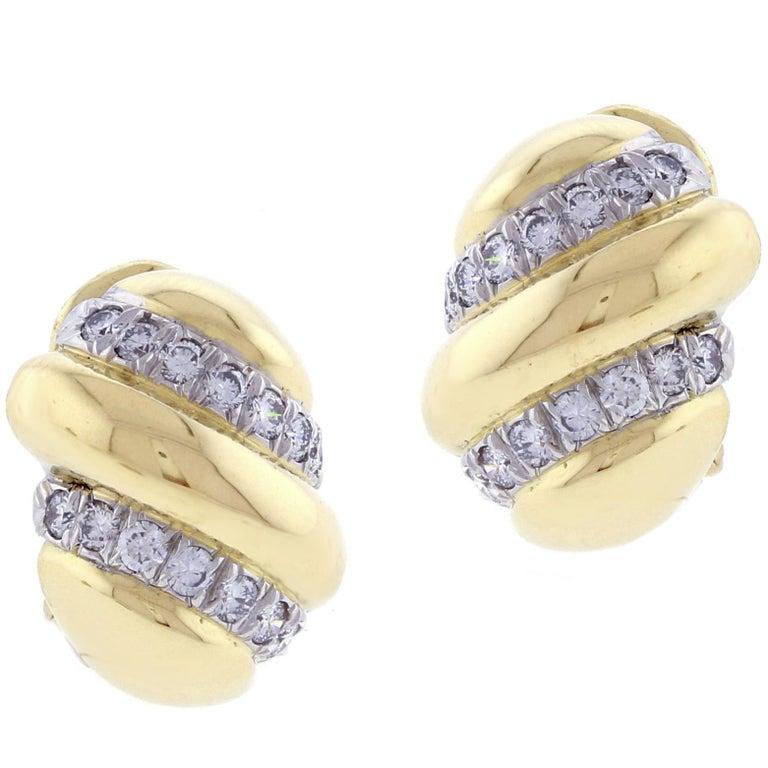 David Webb Diamond and Gold Earrings